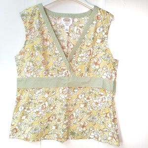 Talbot's Floral Cotton Sleeveless VNeck Top Size L